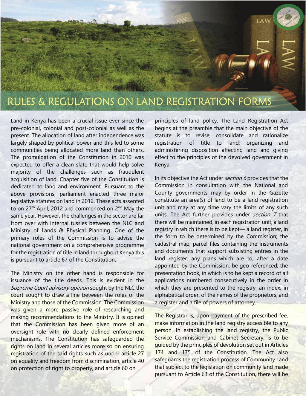 Rules & Regulations on Land Registration Forms